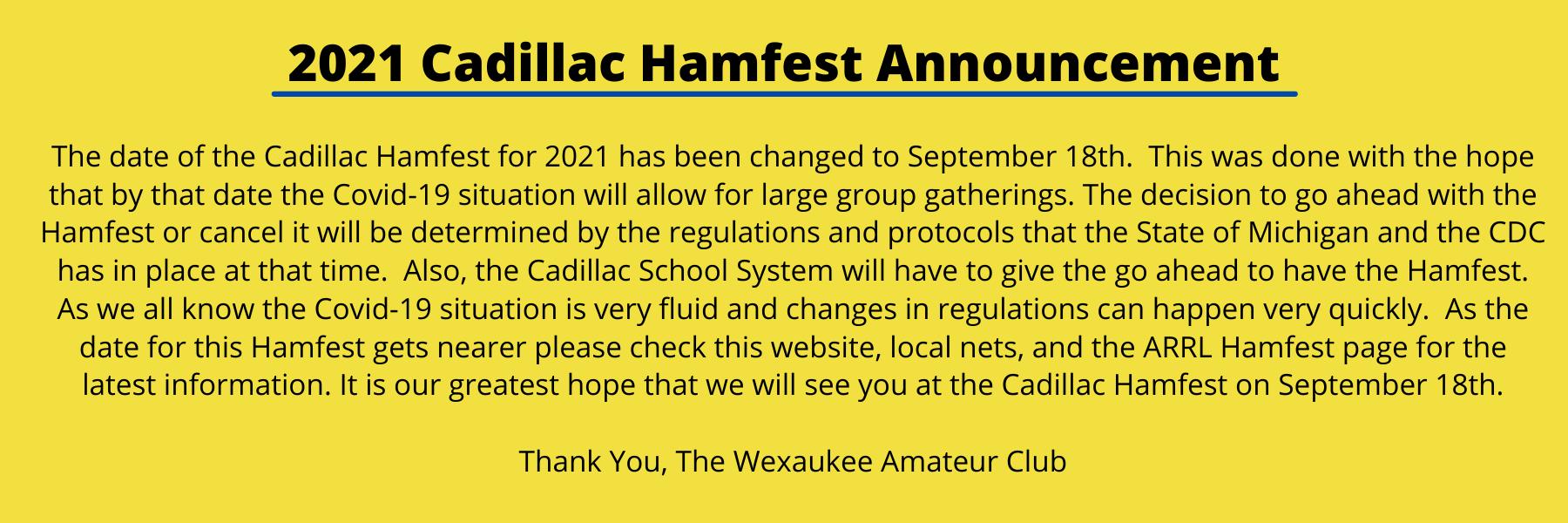 2021 Hamfest Announcement